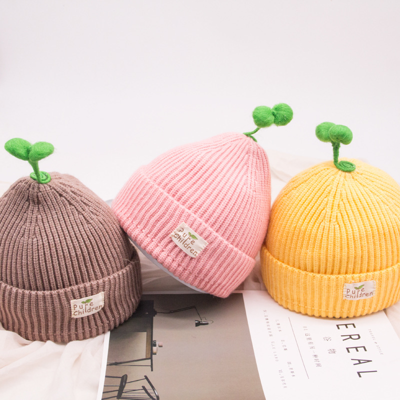 2018 New Children Hat Winter Warm Kids Comfortable Knitted Hat Grass Face Solid Cap Beanie Crochet Baby Boys Clothes Girls Hats