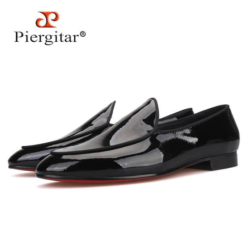 Piergitar/Новинка 2019 года; мужские черные лакированные туфли; вечерние и свадебные Мужские модельные туфли; мужские лоферы ручной работы с красн