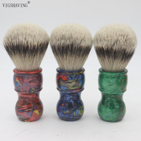 VIGSHAVING Colorful Resin Handle Silvertip Badger Hair Men Shaving Brush
