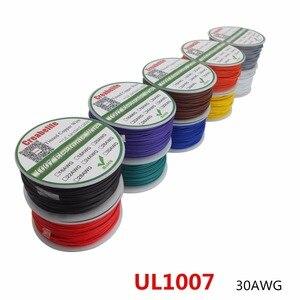 50 м/лот UL 1007 30AWG 10 цветов Электрический провод кабель Линия Луженая Медь PCB Провод RoHS UL сертификация изолированный светодиодный кабель
