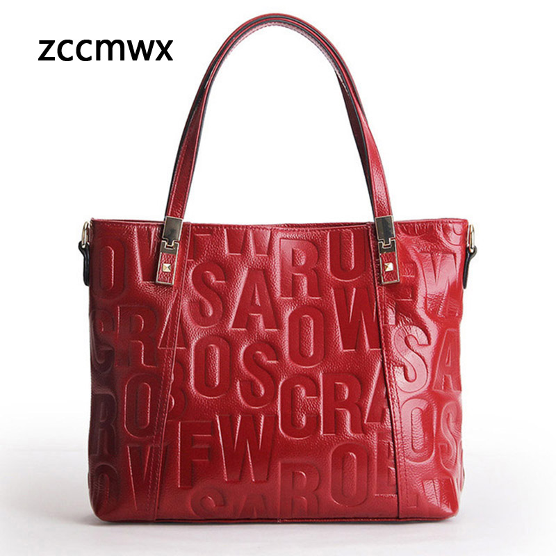 Zccmwx Real Cow Leather Ladies HandBags Women Genuine Leather bags Totes Messenger Bags Hign Quality Designer Luxury Brand Bag