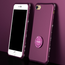 iPhone 6 6S Case For iPhone 7 8 Plus X Soft Cases Bling Diamond Rhinestone Cover Finger Ring Holder Stand Case
