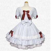 Customized 2018 Summer Retro O Neck Short Sleeve Light Blue Bow With Tie Lolita Dresses Costumes For Halloween