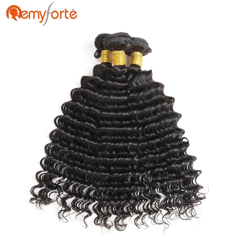 Remy Forte Hair Brazilian Deep Wave 3 Bundles Deal Free Shipping 100% Human