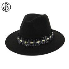 7a86fdc3 FS Classic Cotton Black Blue Fedora Men Winter Hat For Women Elegant Autumn  Felt Top Wide