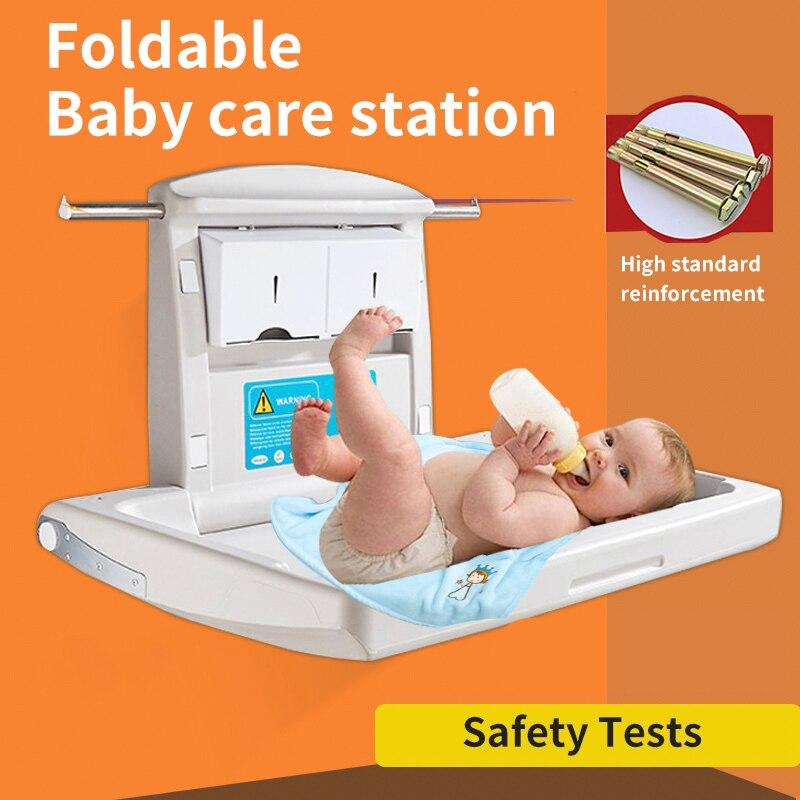 La troisième salle de bain lit à langer bébé chambre de maternité salle de bain pliante tenture murale sûre et confortable table de soins de bébé