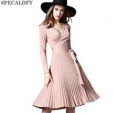 Зимние вязаные Платья-свитеры Для женщин с длинным рукавом элегантные плиссированные платья Элегантный Повседневное миди платье 2018 Весна платье vestidos Femme