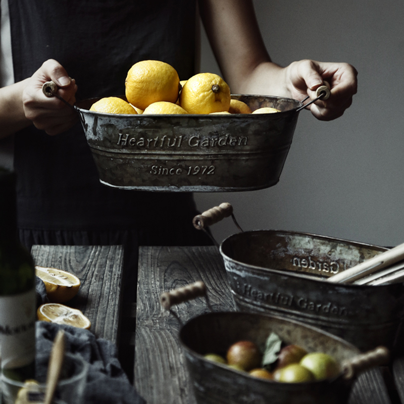 Metal Storage Basket Iron Vintage American Storage Box Flower Pot Flower Baking Basket Storage Decor Fruit Basket For Home
