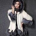 2016 Nueva Moda Caliente de Piel Sintética de Abrigo de Invierno Chaqueta Gruesa capa de Las Mujeres de Imitación de Piel de Zorro Prendas de Abrigo Abrigo Largo Parka CT017