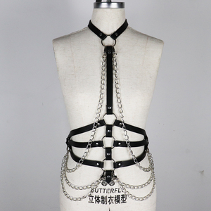 Image 5 - Leather Metal Body Chain Bralete Top Cage Body Harness Punk Gothic Garter Strap Fetish Festival Dance Rave Body Harness Women