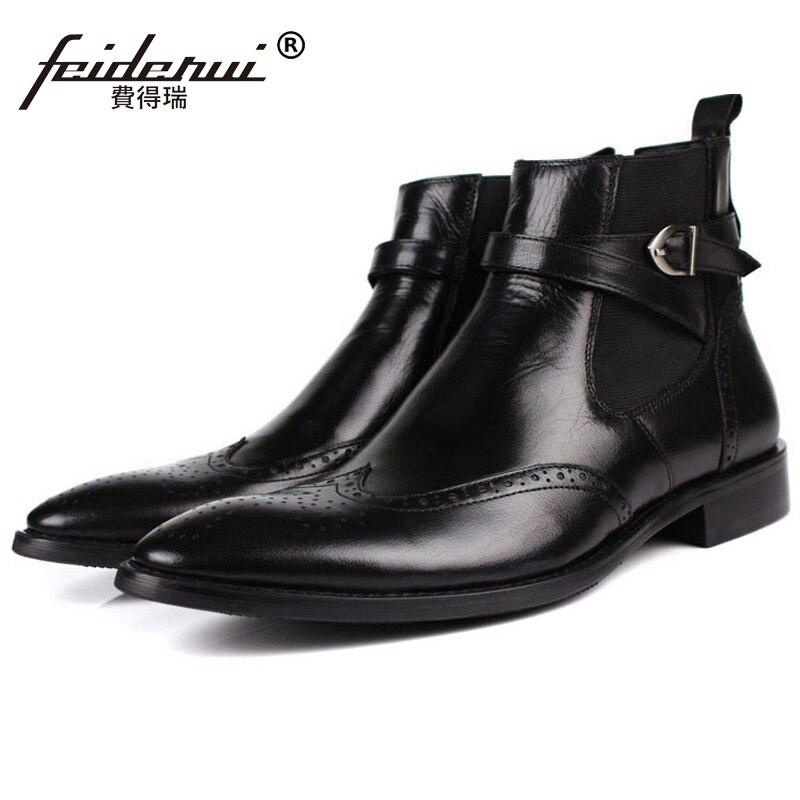 7e2d22f155d De Chaussures Cuir Cheville Britannique Oxford Vintage Chelsea Cowboy  Martin Sculpté Brogue Bout Véritable Jd97 Hommes Bottes ...