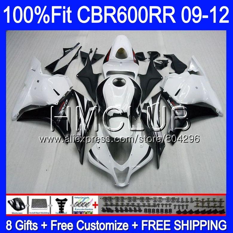 Injection For HONDA CBR600RR CBR 600 R F5 09 10 11 12 66HM.6 CBR 600RR 600F5 CBR600 RR 2009 2010 2011 2012 White black Fairing