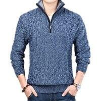 Fashion Zipper Pullover Sweaters For Men Winter Casual Knitwear Male Half Turtleneck Men's Sweaters Wool Blending Sweater