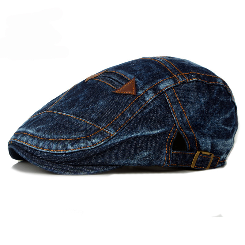HT1195 Fashion Spring Summer Jeans Beret Hats for Men Women Quality Casual Unisex Denim Beret Cap Fitted Sun Cabbie Ivy Flat Cap in Men 39 s Berets from Apparel Accessories