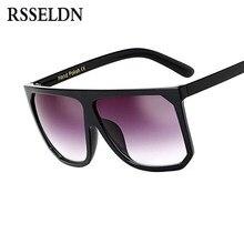 ccf6650d3ae8f3 RSSELDN Mode Oversized Vierkante Zonnebril Vrouwen Luxe Merk Grote Zwarte  Zonnebril Vrouwelijke Spiegel Shades Dames Lunette Fem.