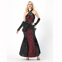 Black And Red Gothic Sexy Vampire Countess Costume Spider Ghost Bride Victorian Fancy Dress Halloween Costumes For Women Scary