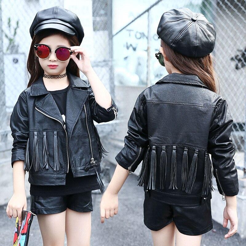 Tassels Pu Leather Big Teen Girls Jackets And Coats Spring -8552