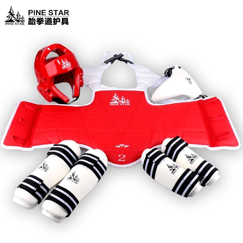 6pcs WTF Taekwondo Protectors suit chest forearm shin guard for adult Kid men women karate Protection TKD headgear chest support