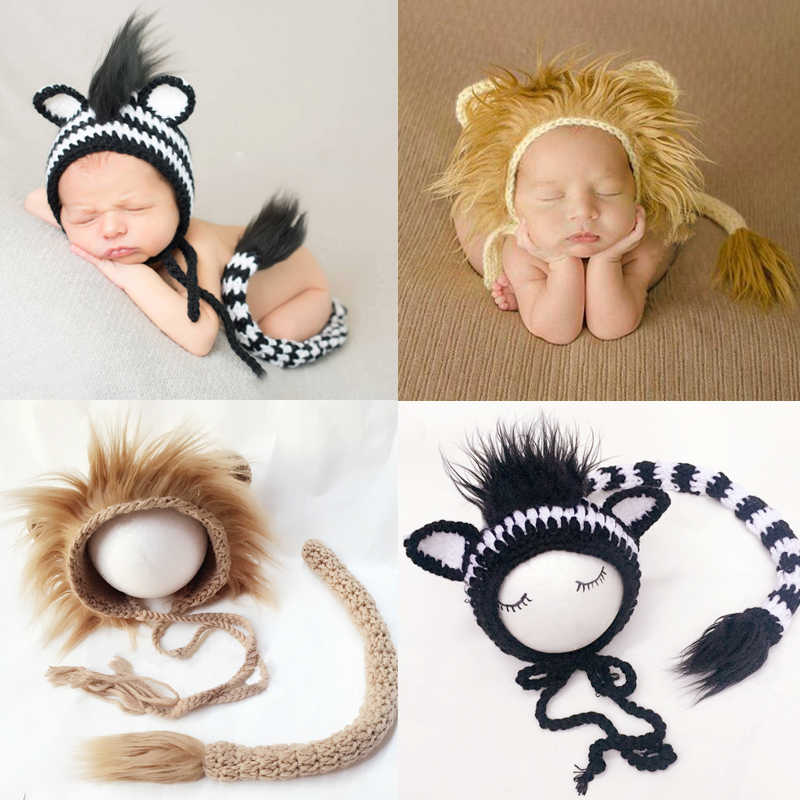Newborn Photography Clothing Lion Zebra Design Woolen Knitted Baby Boy Girl Pictures Outfits Lionet Hat + Tail 2pcs Costumes