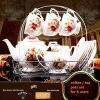 Máquina de café/chá pote definir 15 pcs café/chá ferramentas de design de luxo breve xícara de café e pires de porcelana de ossos bule
