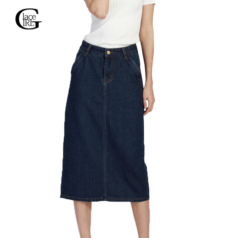 Lace Girl Plus Size 2018 Spring Autumn New Women Denim Skirts Long Skirt High Waist Jeans Maxi ...