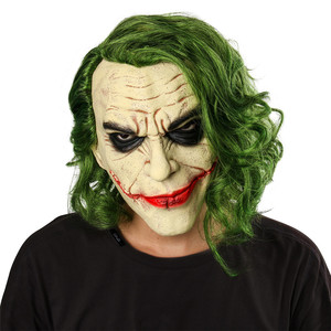 Image 2 - Joker Mask Movie Batman The Dark Knight Cosplay Horror Scary Clown Mask with Green Hair Wig Halloween Latex Mask Party Costume