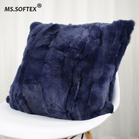 MS.Softex Rex Rabbit Fur Pillowcase Patchwork Real Rabbit Skin Pillow Cushion Soft Cushion Cover Genuine Fur homes FREE SHIPPING