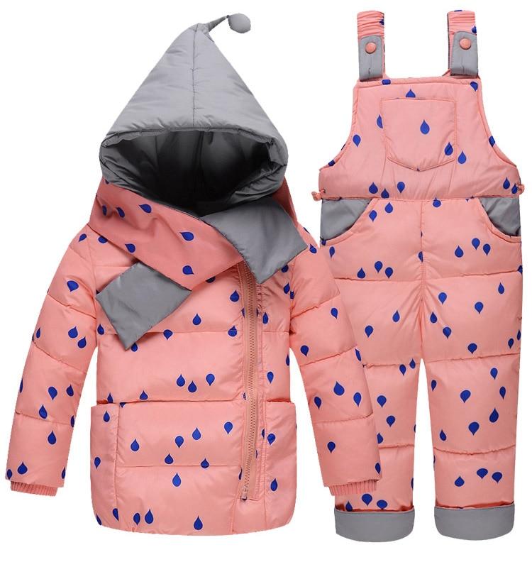 Vestes en duvet pour enfants costume la fille de la mode costume en plumes de canard blanc et pantalon avec deux ensembles de combinaison de ski froid et froid lourd - 6