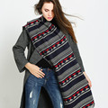 Navy White Striped Diamond Pattern Pashmina New Winter Cotton Cashmere Warm Long Scarf Women Fashion Large Shawl