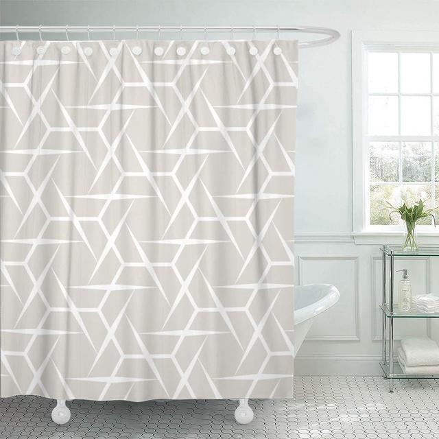 Shower Curtain Hooks Gray Carpet Abstract Geometry Black White