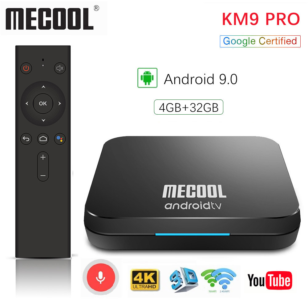 Mecool KM3 ATV 4G 64G 128G Android 9.0 Google certifié Androidtv Amlogic S905X2 4K Double Wifi Smart TV Box KM9 Pro 2/16G 4/32G - 2