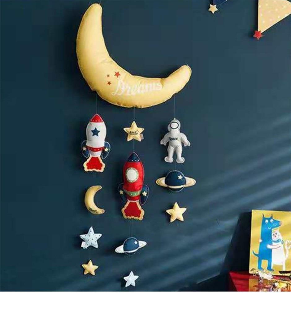 Estrela lua foguete diy cama bell brinquedos