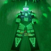 LED Light Clothing Fashion Show Glowing Clothes Helmet Pant Luminous Men's LED Suits Ballroom Mechanical Dance Dress Accessories