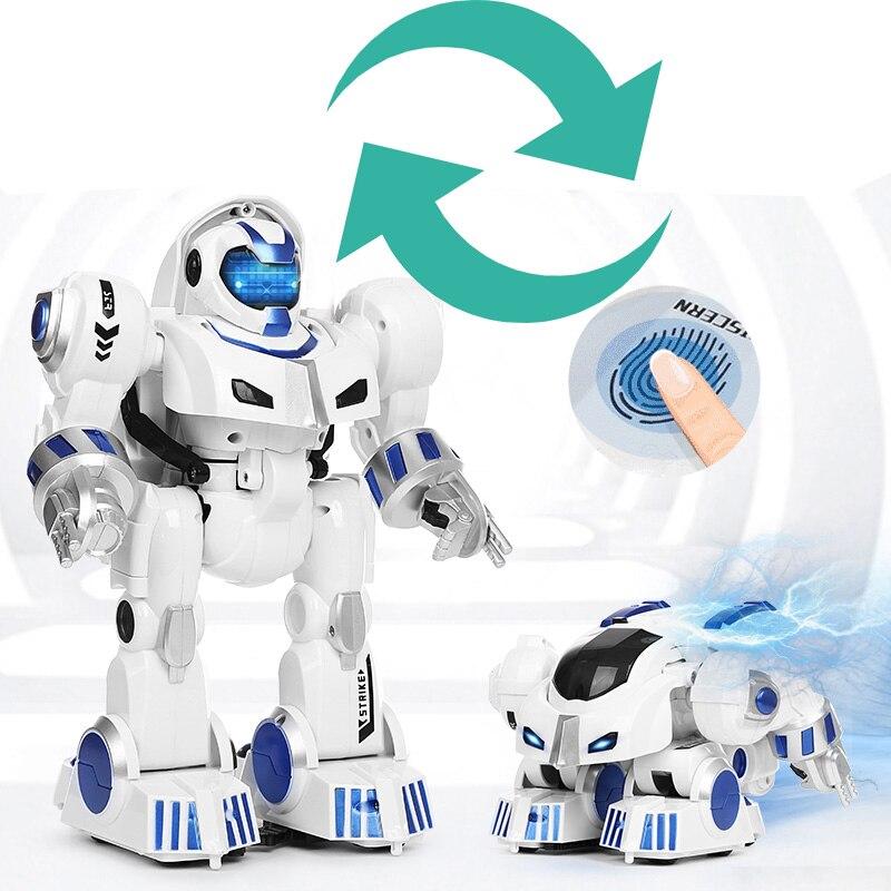 все цены на RC Robot Deformation Remote Control Dinosaur Intelligent Fingerprint Robot Dragon Puzzle Children's Toys Christmas Gifts