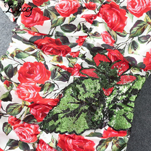 Luxury Brand 2017 Summer Runway Sequin Dress Ruffles Bow Tropical Floral Printed Dresses Women Mermaid Beading Midi Dresses