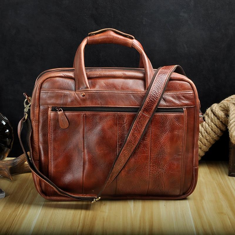 HTB1MVVlKuuSBuNjSsziq6zq8pXaI Men Oil Waxy Leather Antique Design Business Briefcase Laptop Document Case Fashion Attache Messenger Bag Tote Portfolio 7146