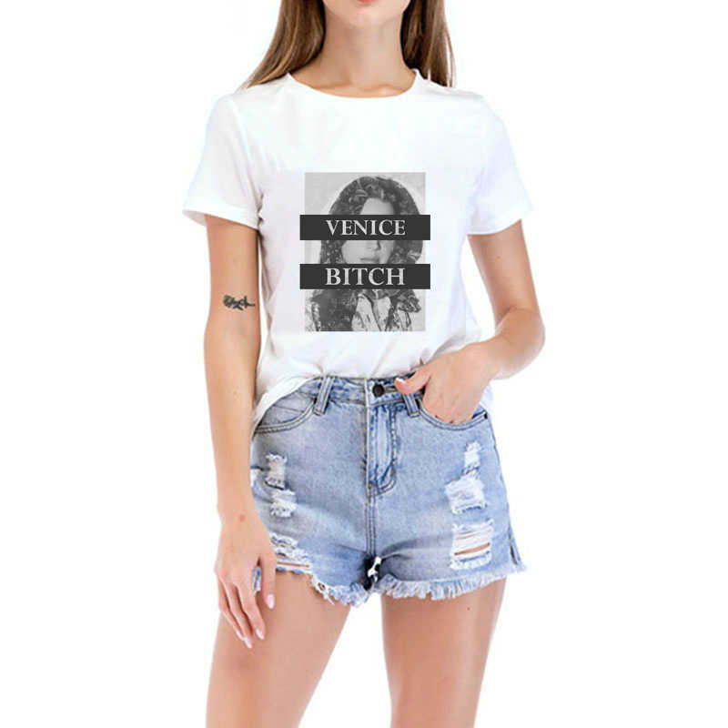 77202765b50 VENICE BITCH letter Lana Del Rey T shirt Women Casual Summer Tshirts Cotton  Womens tops Vintage White T-shirt Women