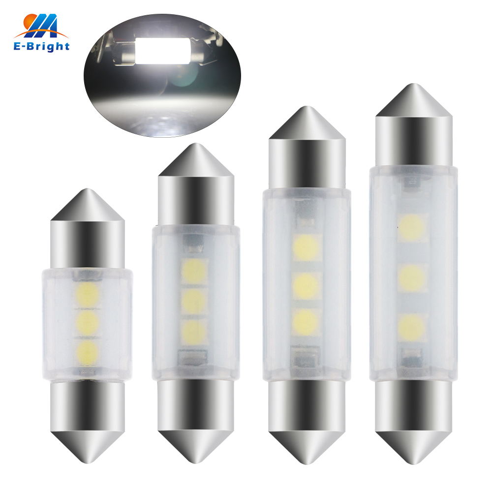 YM E-Bright 50 PCS C5W 3030 31MM 36MM 39MM 41MM 3 SMD Car LED Interior Dome Roof Lights Festoon Light Bulbs 12V White Car Bulbs image