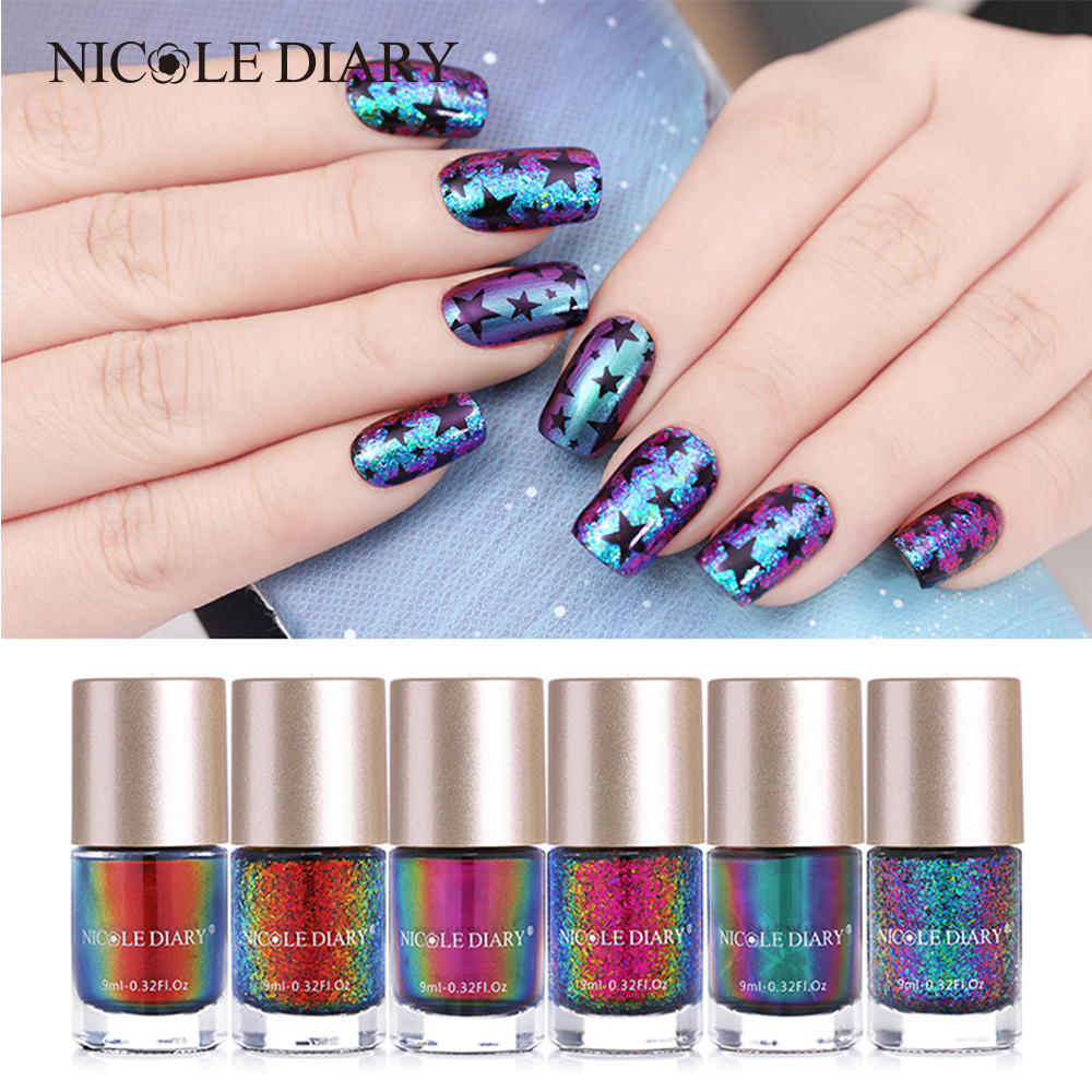 NICOLE DIARY 9ml Chameleon Polish Wonderworld Series Iridescent Flakies Sequins Nail Art Varnish DIY Nails Tip Color Lacquer 4 bottles nicole diary 9ml nail art stamping polish silver nail art varnish polish for beauty nail art printing