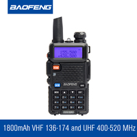 Updated BAOFENG UV 5R Dual Band Transceiver 136 174Mhz 400 520Mhz Two Way Radio With 1800mAH