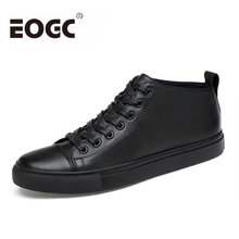 Genuine Leather Shoes Men flats High Top Men casual shoes Lace-up Men Ankle Shoes Fashion black Unisex Punk Shoes Size 36-47 winter men loafers size 38 47 men s leather casual shoes autumn genuine leather men shoes lace up men flats fashion black shoes