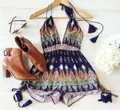 Summer Style Chiffon Print Jumpsuit 2015 New Fashion Sleeveless V-Neck Sexy Women Beach Bohemian Jumpsuits and Rompers Playsuit