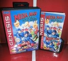 Mega hombre astuto Wars cubierta para USA con caja y manual para Sega Megadrive Génesis Video juego consola 16 poco MD tarjeta
