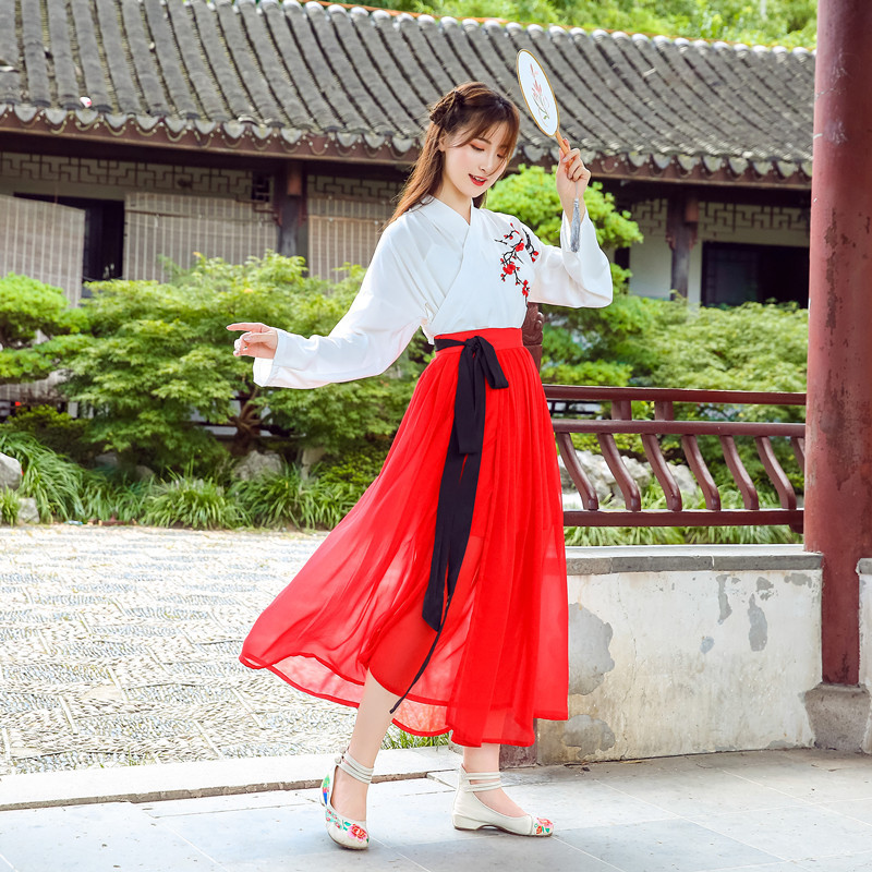 Hanfu Costume Dress Women Improved Hanfu Daily Short Sleeve Hanfu Embroidered Crossdresses Costumes Han Elements Student Set 26
