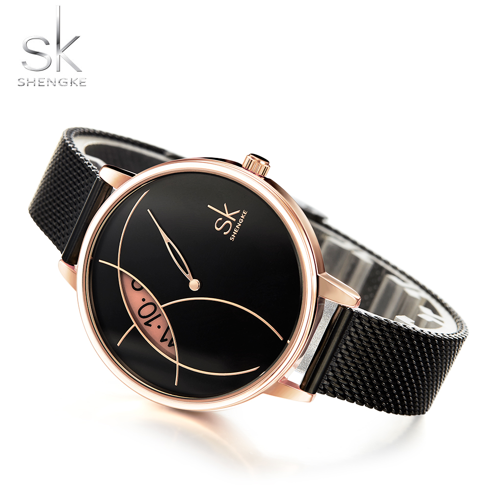 Shengke Top Brand Luxury Watch Women Creative Fashion Watches Stainless Steel Women's Watches Ladies SK Watch Clock Reloj Mujer