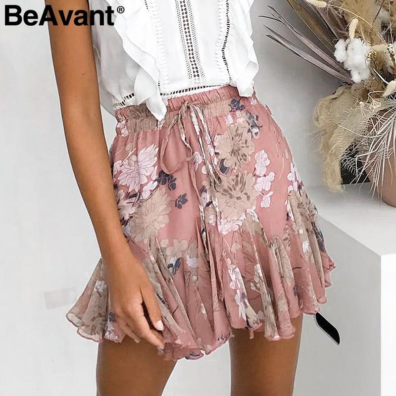 BeAvant Bohemian Print Summer Skirts Womens Ruffle Pleated Floral Short Boho Skirt Female High Waist Chiffon Beach Mini Skirt
