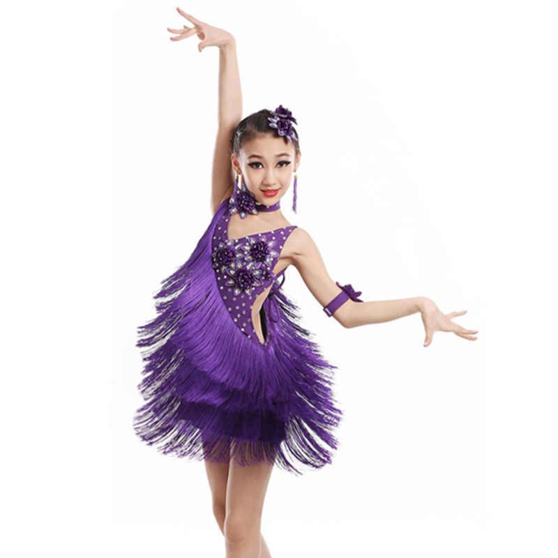 82ed2dbb1 child kid children professional latin dance dress for girls ballroom dancing  dresses for kids red sequin