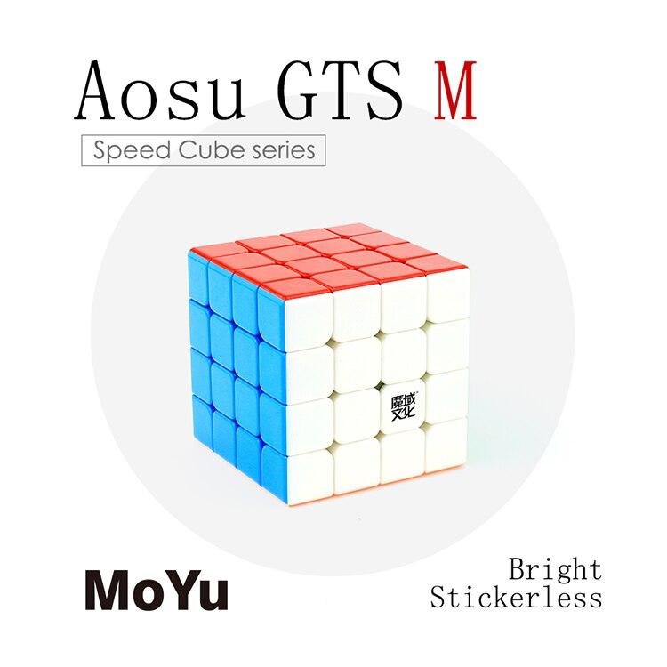 MoYu Aosu GTS M 4x4x4 Magic Cubes 4x4 Speed Cube 4 Player Magnetic Cube Professional Triangle Shape Twist Educational Kid Toys