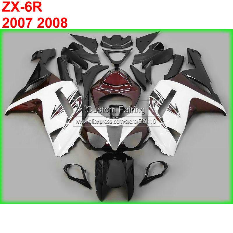 Black White INJECTION Fairing Bodywork Plastic For Kawasaki ZZR600 05-08 32 B1