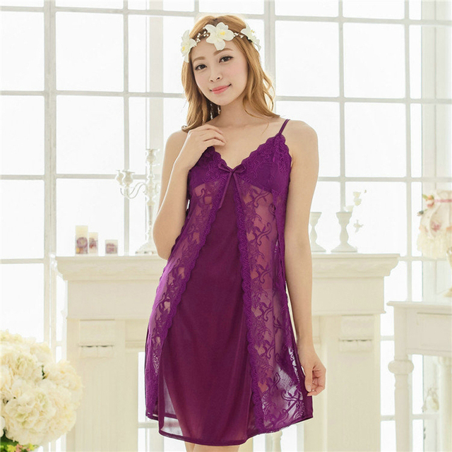 17418334e53c Free shipping lace sexy 2016 spring summer nightdress for women Violet sex Sleepwear  nightgown Temptation Y189